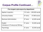 corpus profile continued