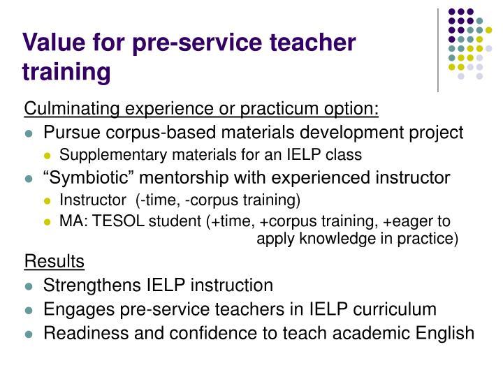 Value for pre-service teacher training
