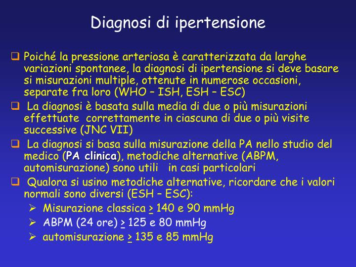 Diagnosi di ipertensione