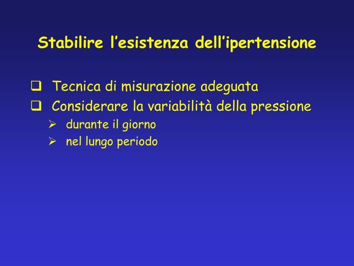 Stabilire l'esistenza dell'ipertensione