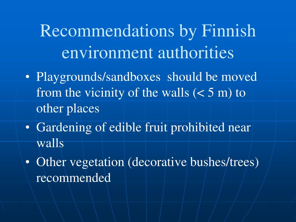 Recommendations by Finnish environment authorities