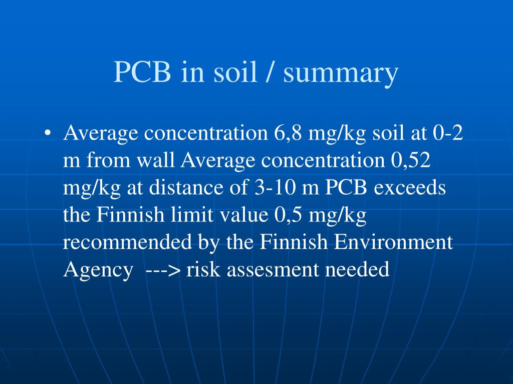 PCB in soil / summary