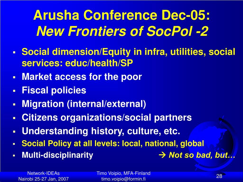 Arusha Conference Dec-05: