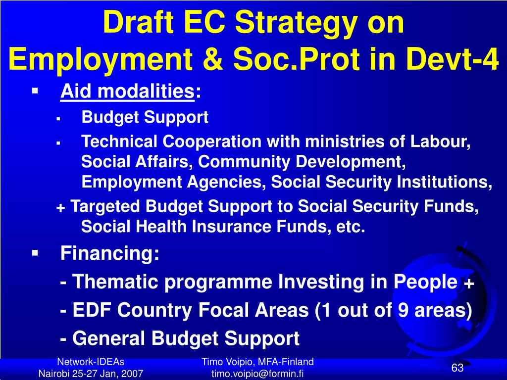 Draft EC Strategy on Employment & Soc.Prot in Devt-4