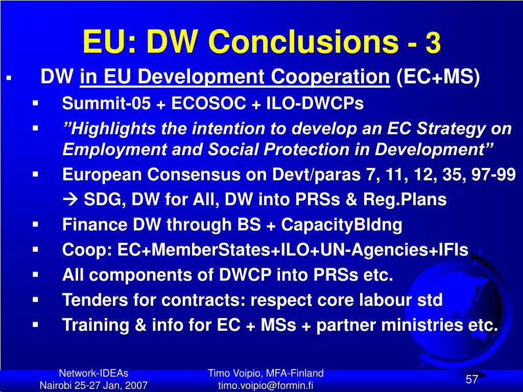 EU: DW Conclusions