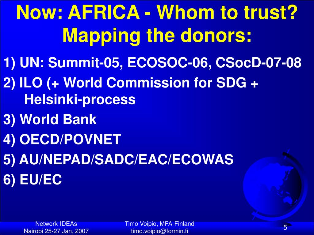Now: AFRICA - Whom to trust? Mapping the donors: