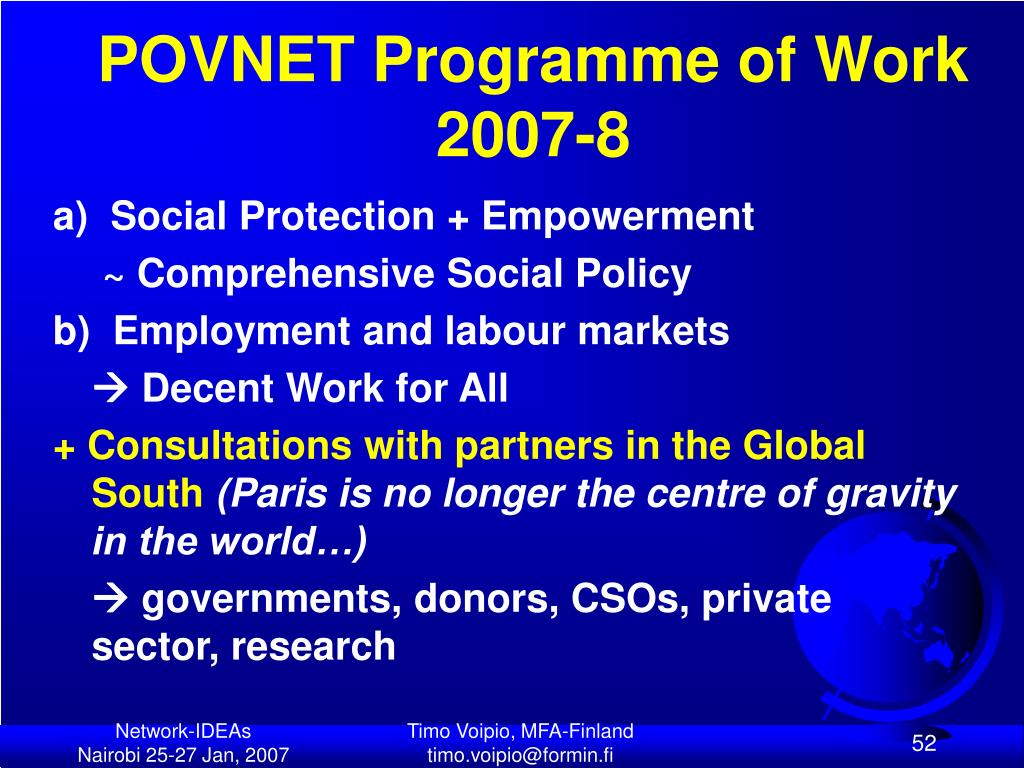 POVNET Programme of Work 2007-8