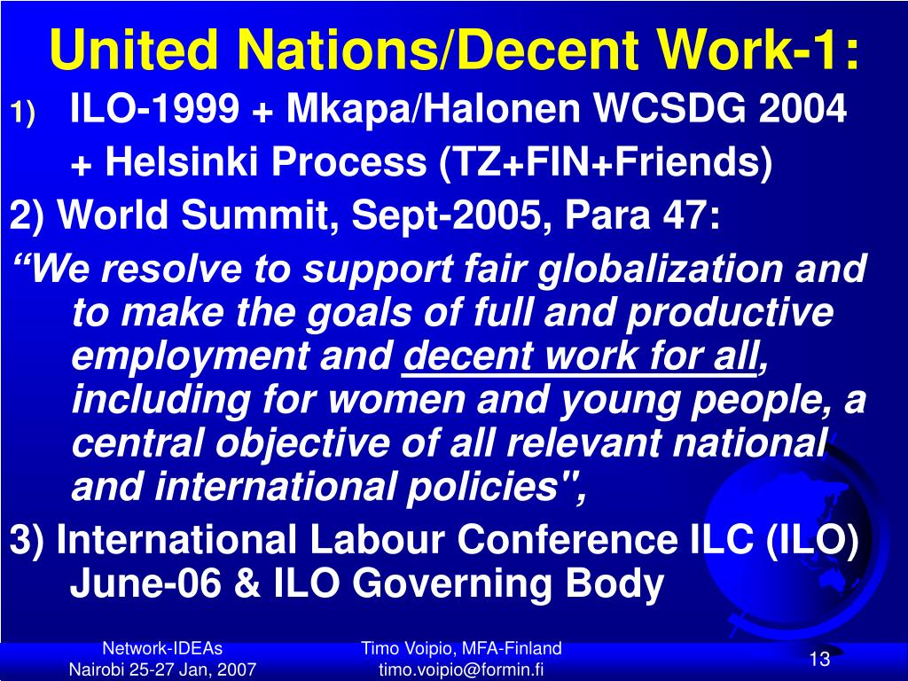 United Nations/Decent Work-1: