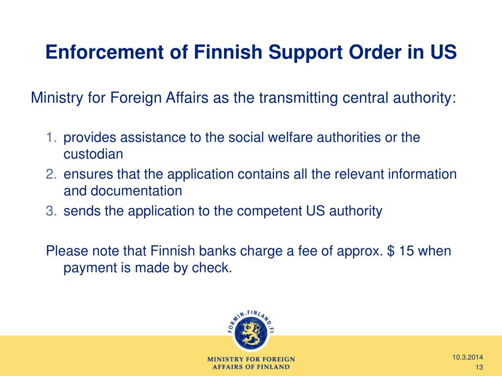 Enforcement of Finnish Support Order in US