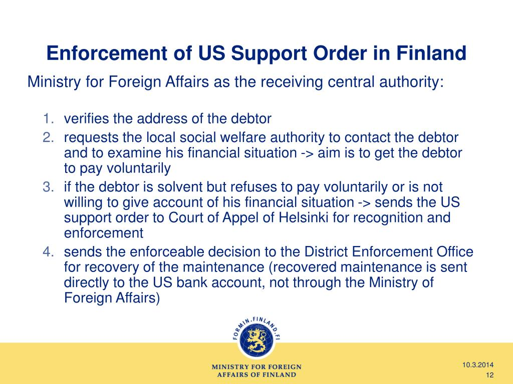 Enforcement of US Support Order in Finland