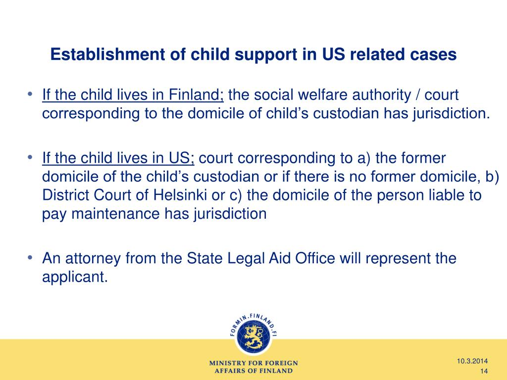 Establishment of child support in US related cases