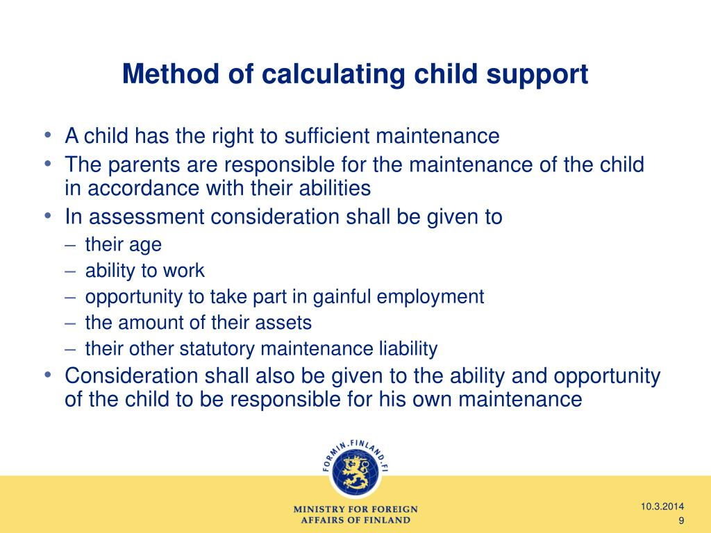 Method of calculating child support