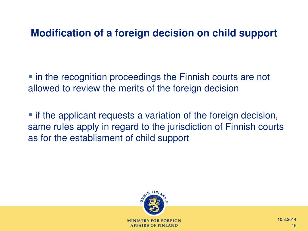 Modification of a foreign decision on child support