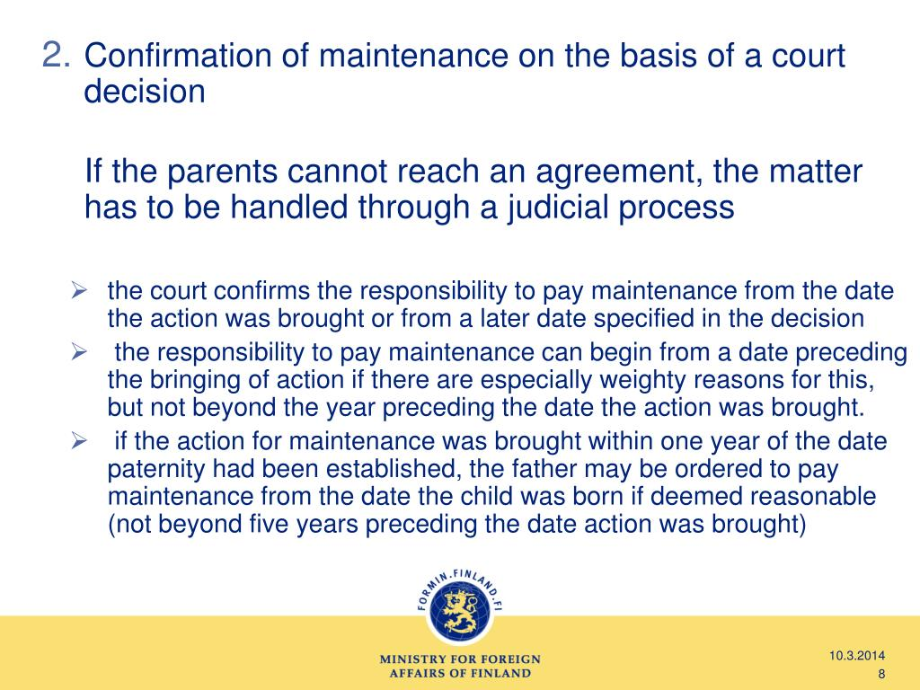 Confirmation of maintenance on the basis of a court decision
