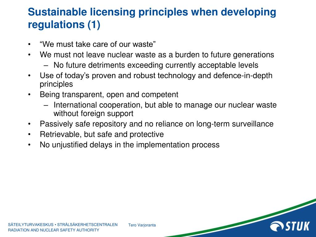 Sustainable licensing principles when developing regulations (1)