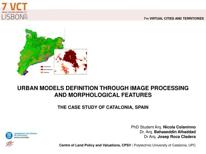 Urban models definition through image processing and morphological features the case study of catalonia spain