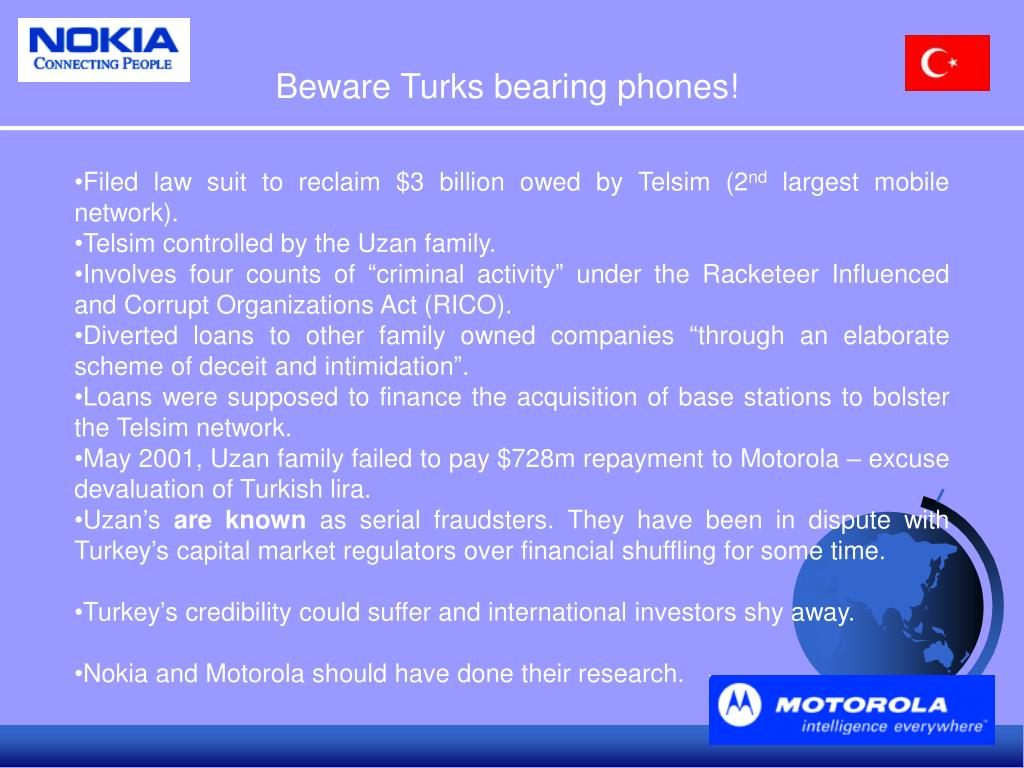 Beware Turks bearing phones!