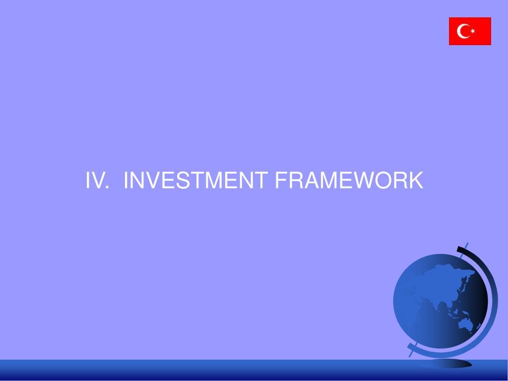 IV.  INVESTMENT FRAMEWORK
