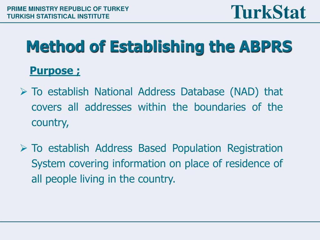 Method of Establishing the ABPRS
