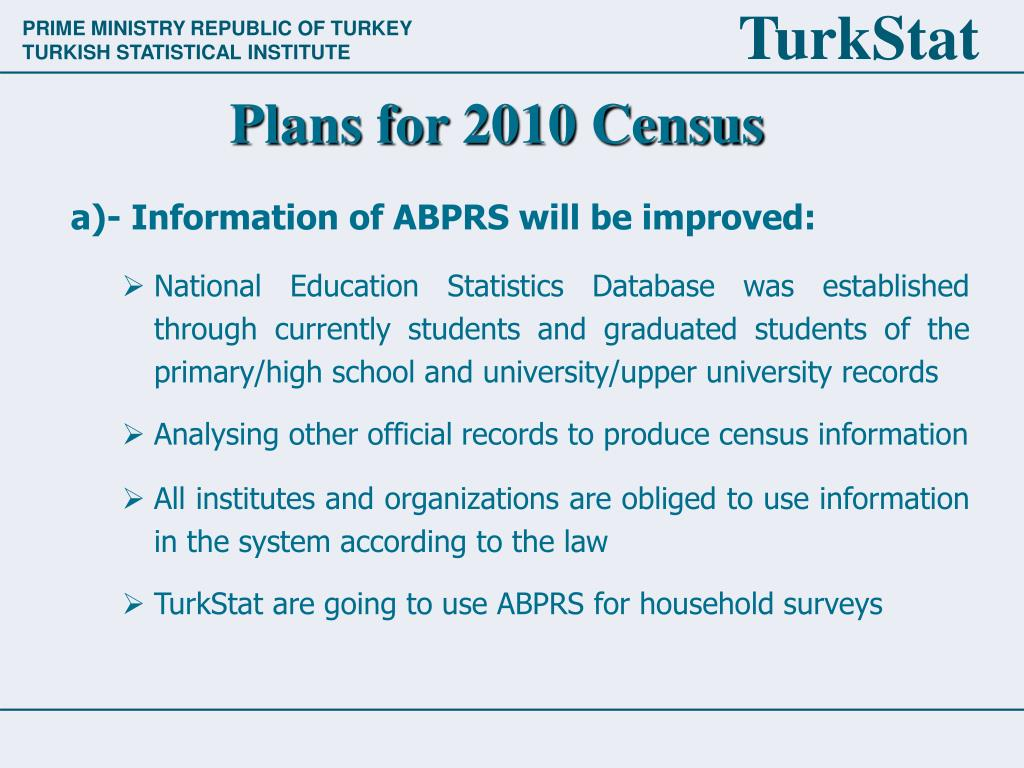 Plans for 2010 Census