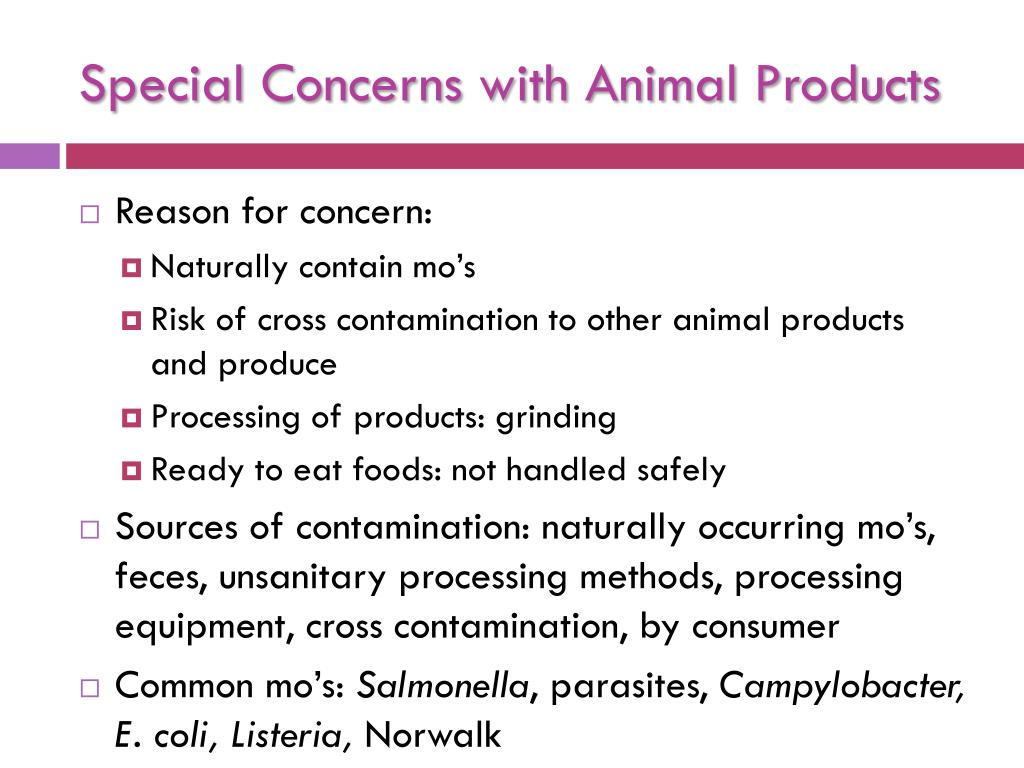 Special Concerns with Animal Products