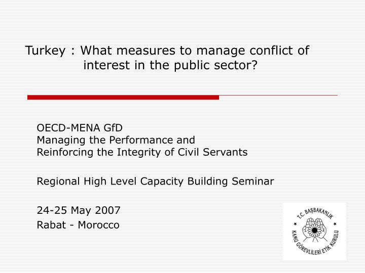 Turkey what measures to manage conflict of interest in the public sector