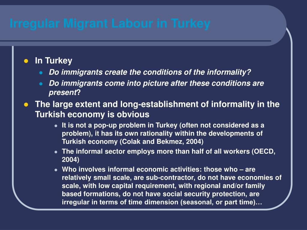 Irregular Migrant Labour in Turkey