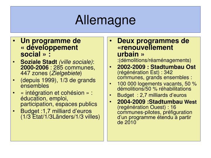 Un programme de «développement social» :