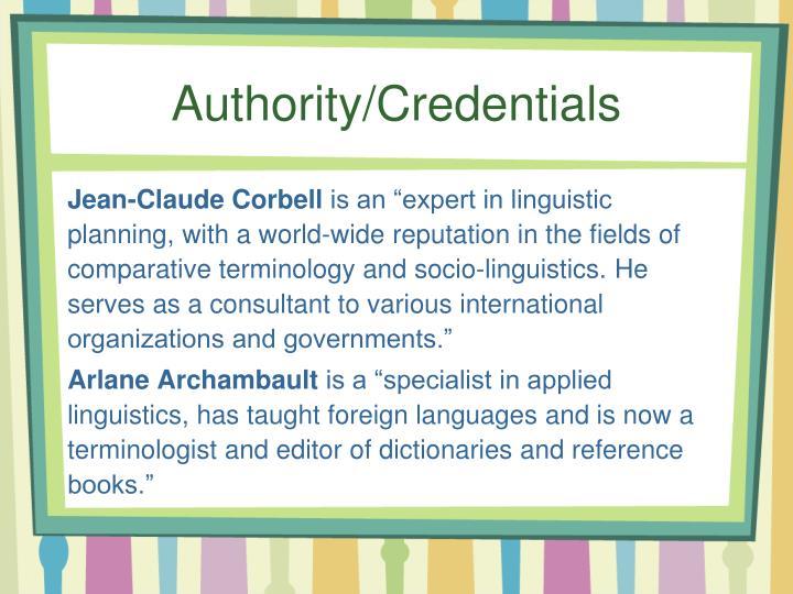 Authority/Credentials