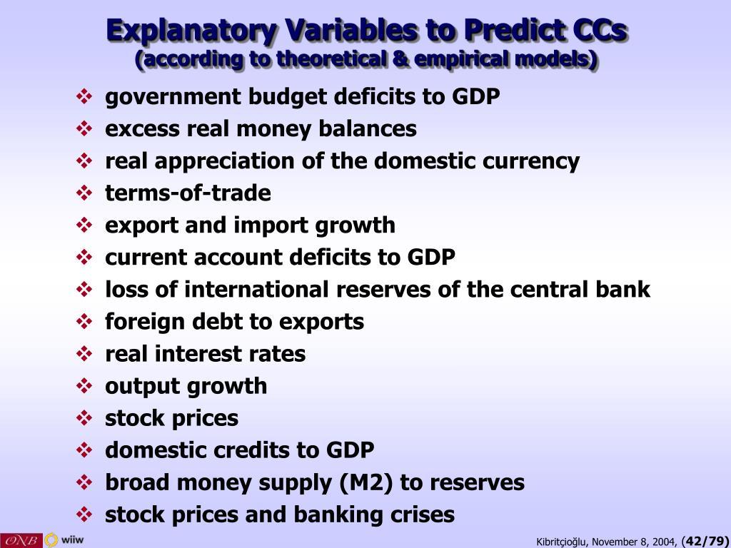 Explanatory Variables to Predict CCs