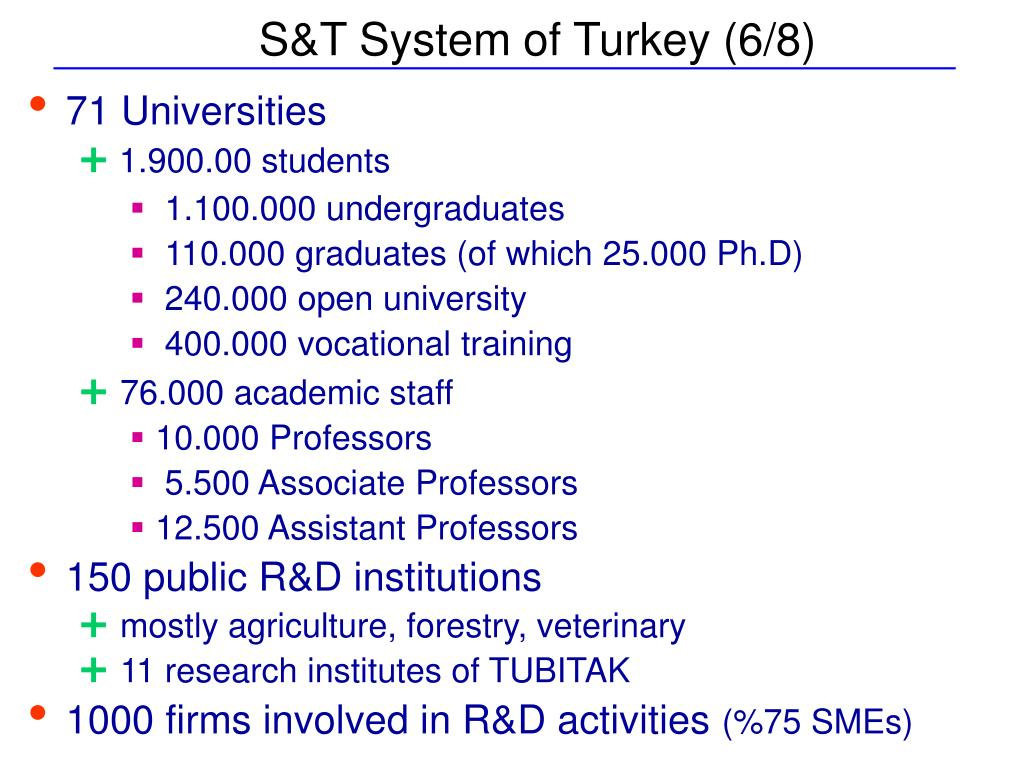 S&T System of Turkey (6/8)