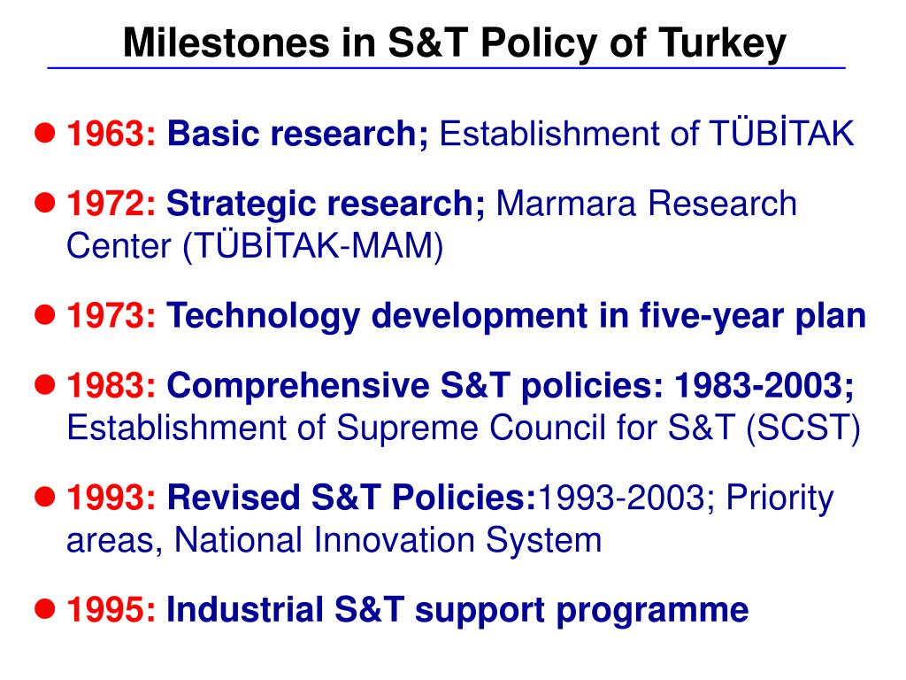 Milestones in S&T Policy of Turkey