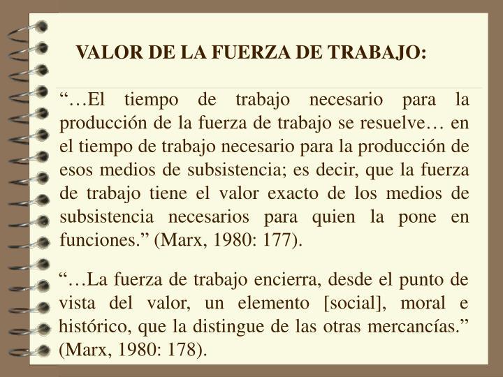 VALOR DE LA FUERZA DE TRABAJO: