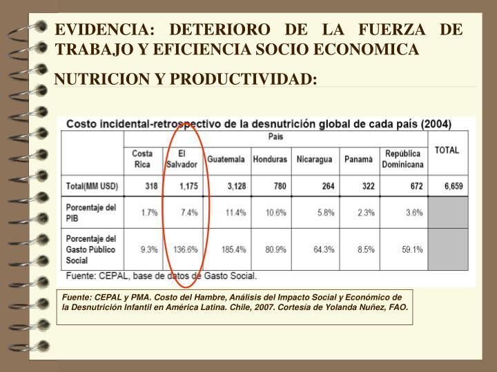 EVIDENCIA: DETERIORO DE LA FUERZA DE TRABAJO Y EFICIENCIA SOCIO ECONOMICA