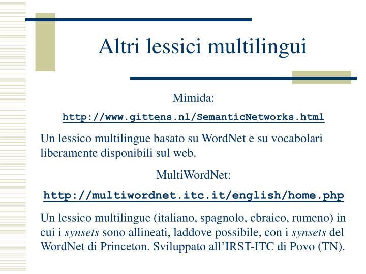 Altri lessici multilingui