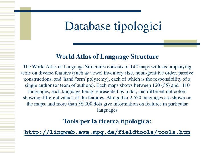 Database tipologici