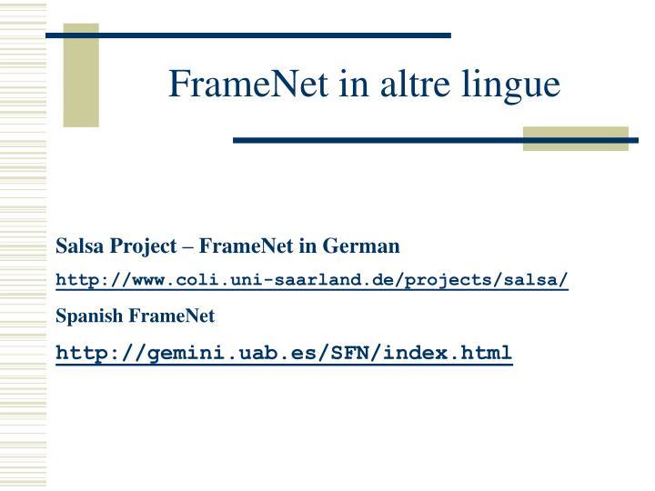 FrameNet in altre lingue