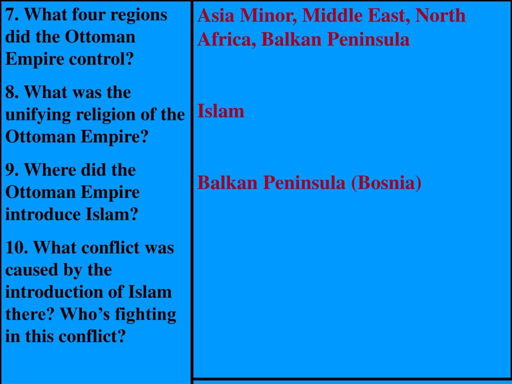 7. What four regions did the Ottoman Empire control?