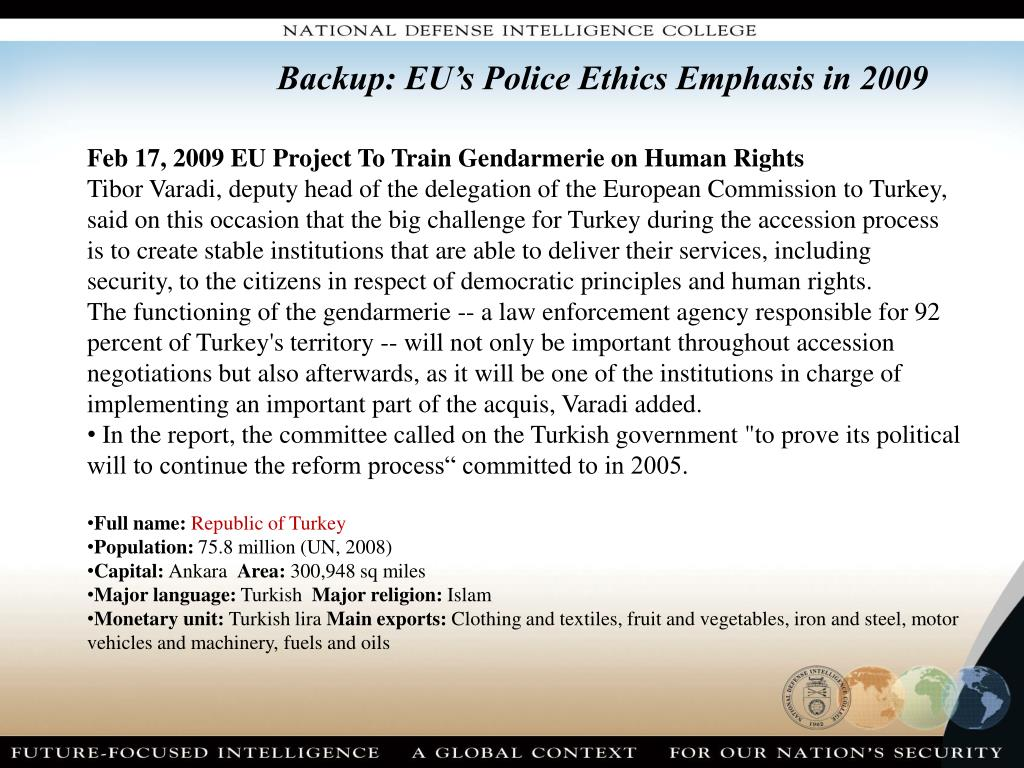 Backup: EU's Police Ethics Emphasis in 2009