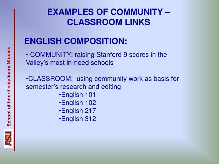 EXAMPLES OF COMMUNITY – CLASSROOM LINKS