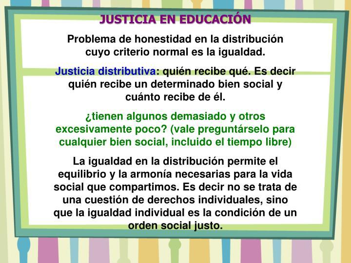 JUSTICIA EN EDUCACIÓN