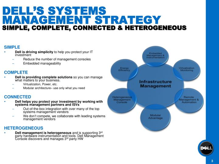 Dell s systems management strategy simple complete connected heterogeneous