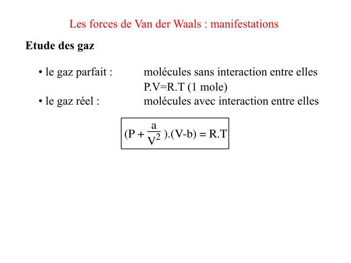 Les forces de Van der Waals : manifestations