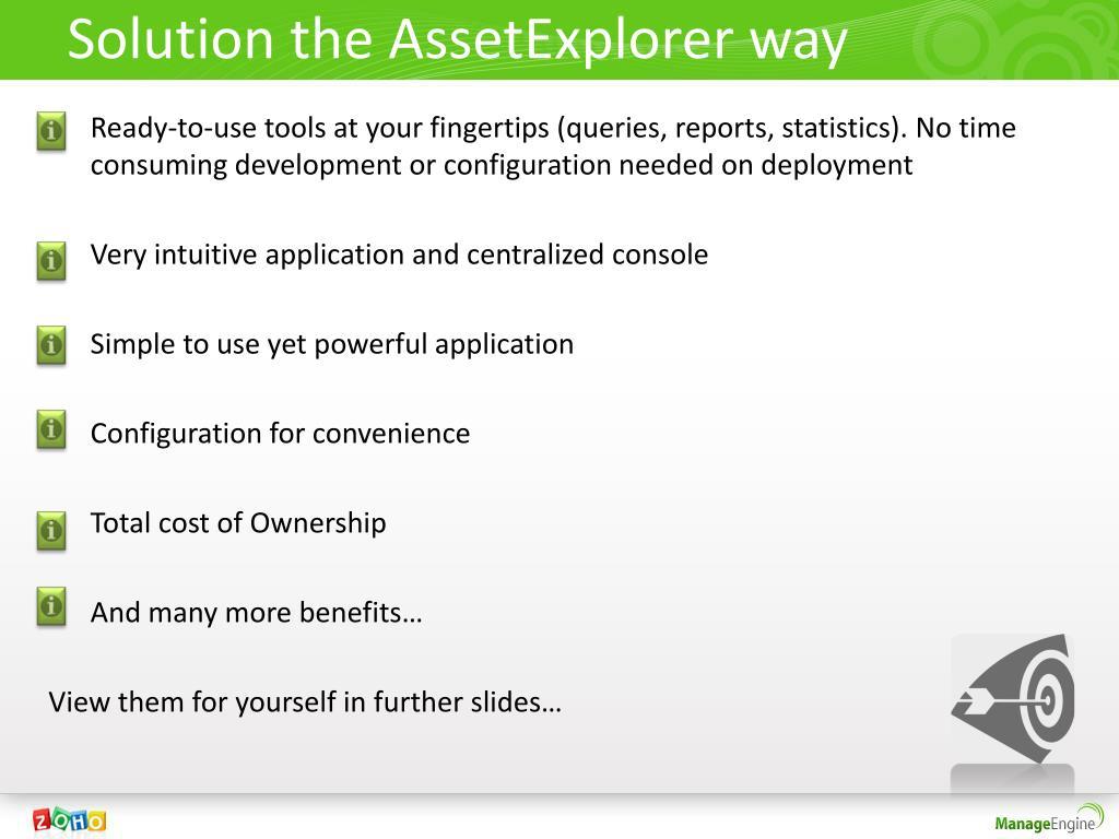 Solution the AssetExplorer way