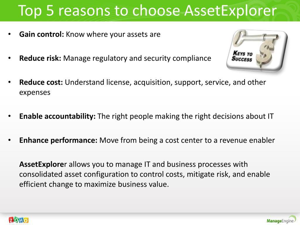 Top 5 reasons to choose AssetExplorer