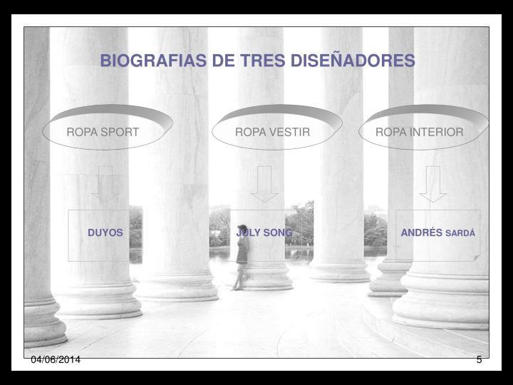 BIOGRAFIAS DE TRES DISEÑADORES
