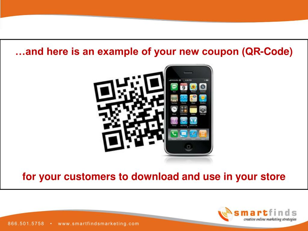 …and here is an example of your new coupon (QR-Code)