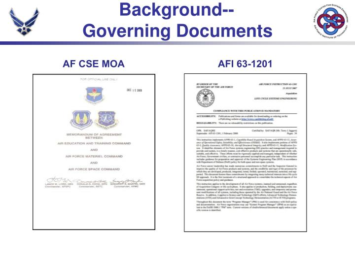 Background governing documents