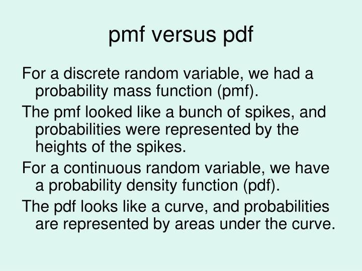 pmf versus pdf