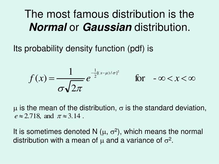 The most famous distribution is the